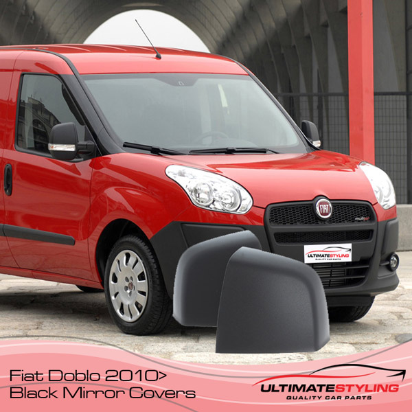Un-primed black plastic wing mirror cover for Fiat Doblo