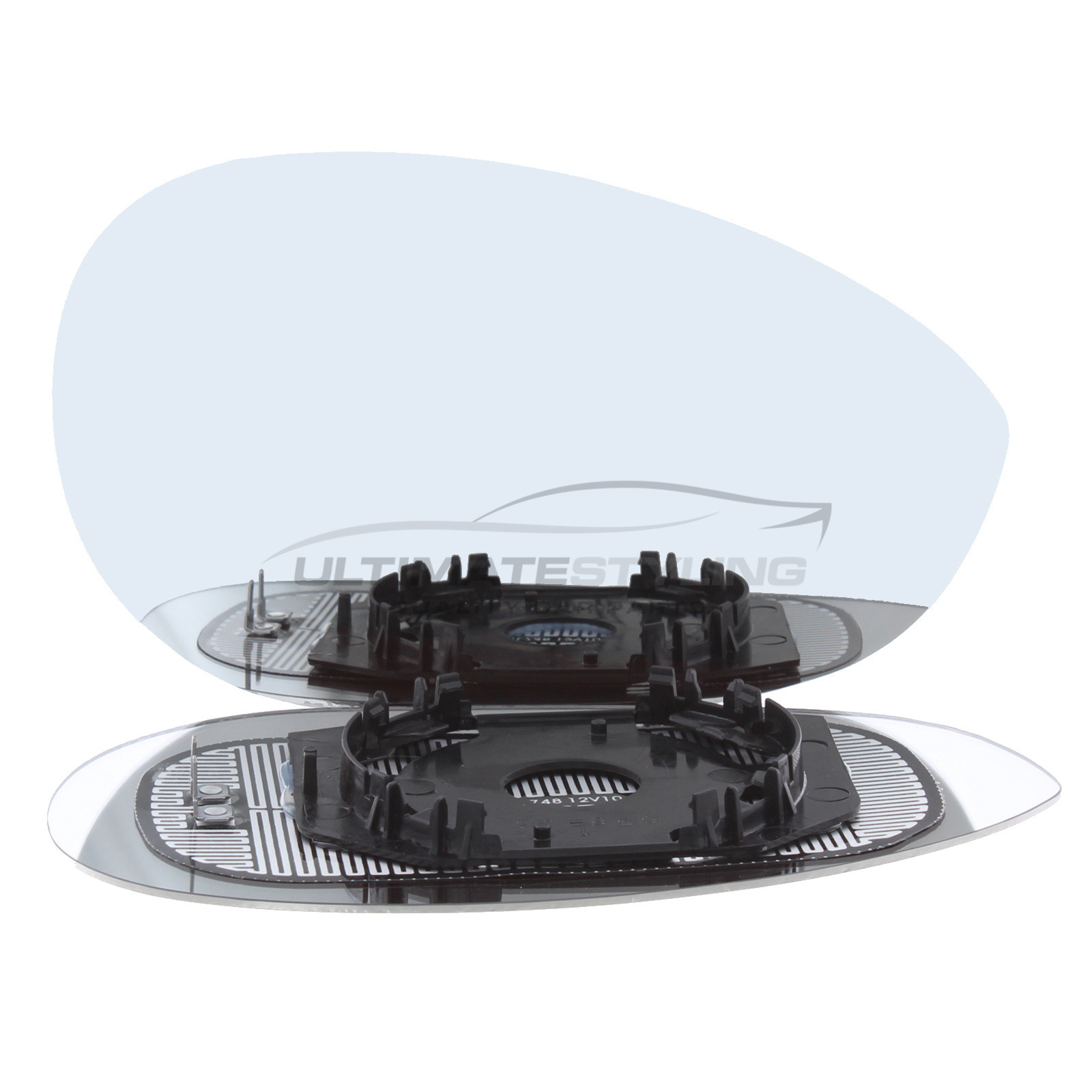 Fiat 500 2008> / Punto 2012-2018 / Grande Punto 2006-2010 / Punto Evo 2010-2012 / Abarth 500 / 595 & 695 2015> Wing Mirror Glass - Drivers Side (RH) - Heated - Convex - Chrome