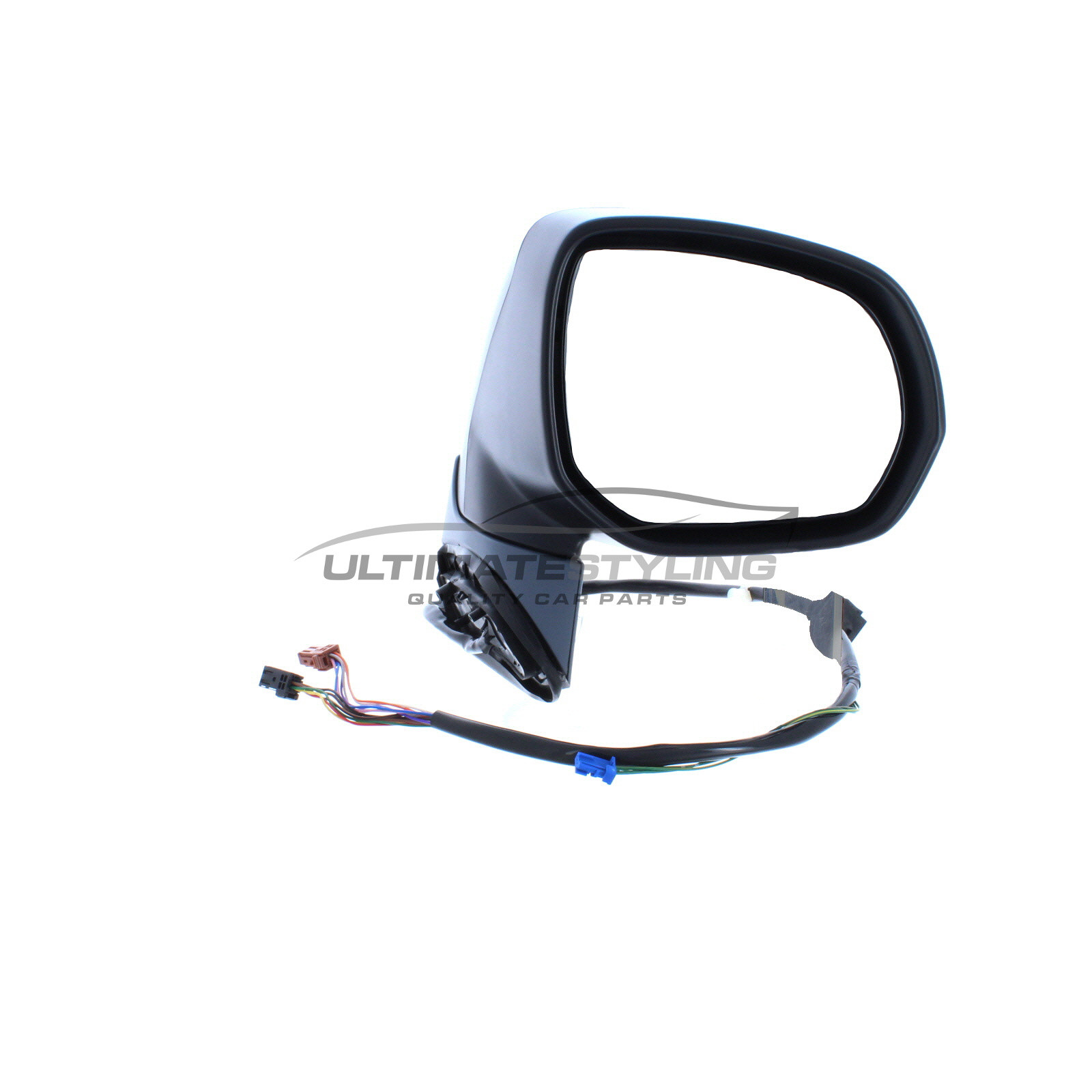 LH Ultimate Styling Replacement Cable None Power Folding Wing Door Mirror With Non-Heated Glass With Black Mirror Cover Cap Side Of Product Passenger Side