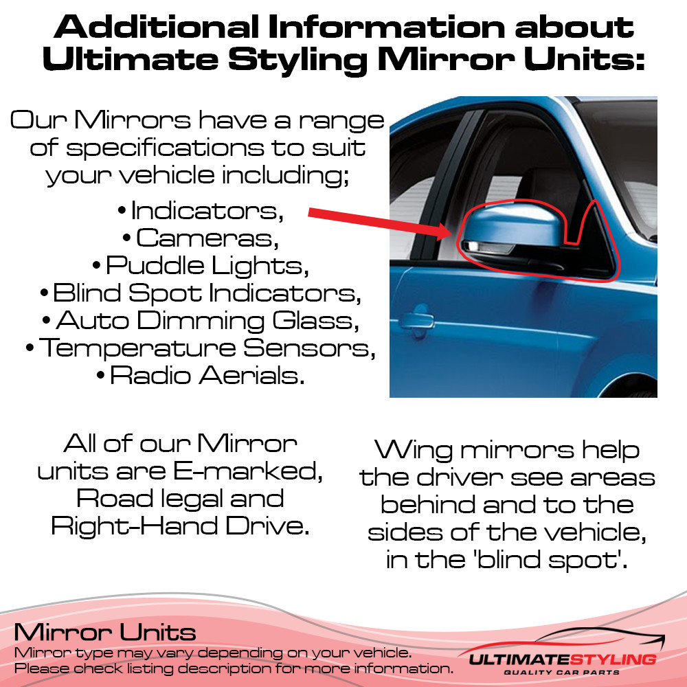Fiat 500 2008> / Abarth 500 / 595 & 695 2015> Wing Mirror / Door Mirror - Drivers Side (RH) - Electric adjustment - Heated Glass - Primed