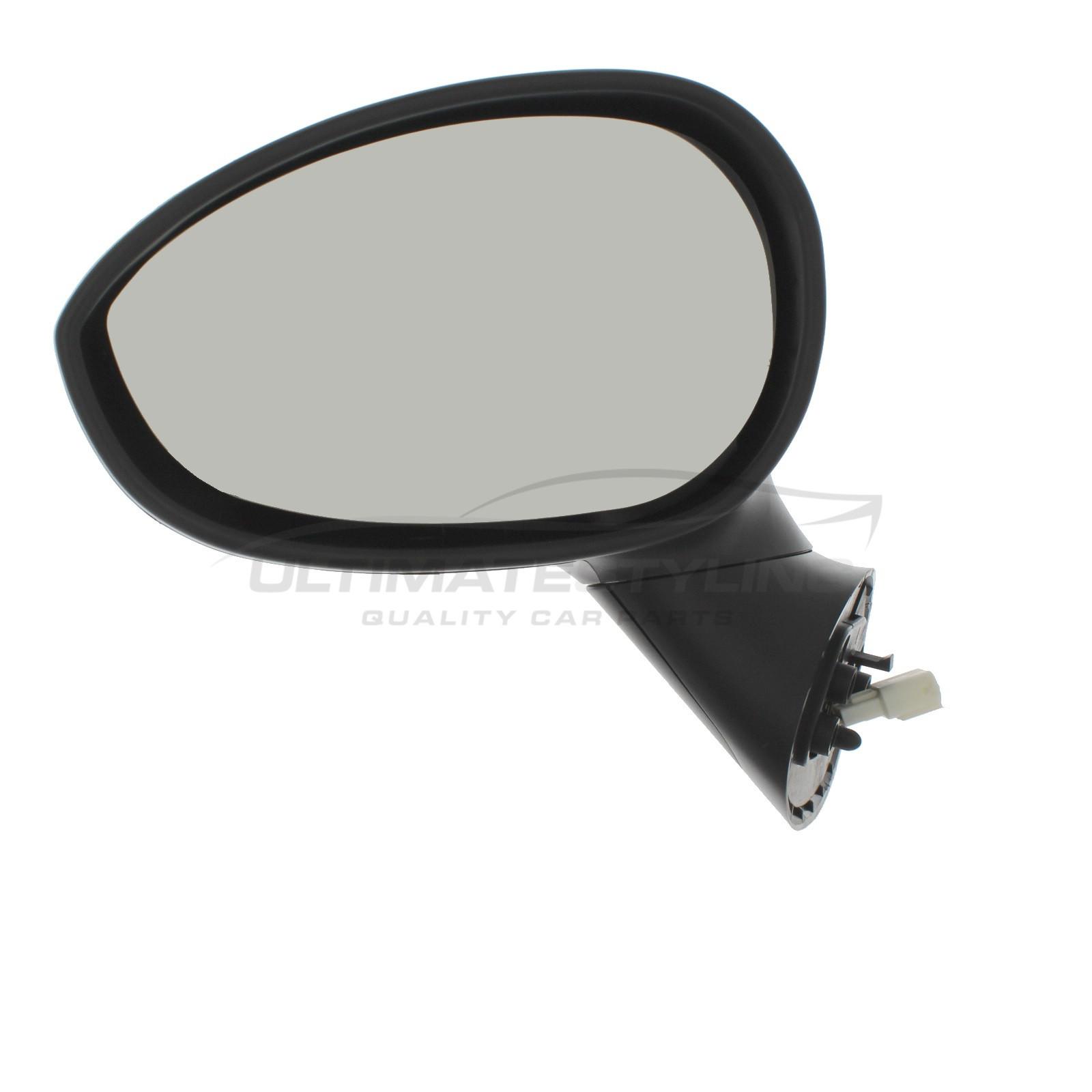 Fiat 500 2008> / Abarth 500 / 595 & 695 2015> Wing Mirror / Door Mirror - Passenger Side (LH) - Electric adjustment - Heated Glass - Temperature Sensor - Primed