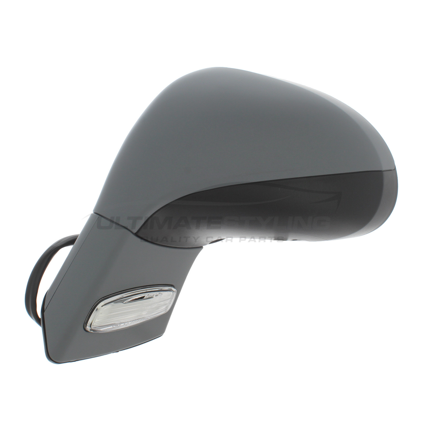 RH Ultimate Styling Replacement Electric Power Folding Wing Door Mirror With Heated Glass With Indicator With Primed Mirror Cover Cap Side Of Product Drivers Side