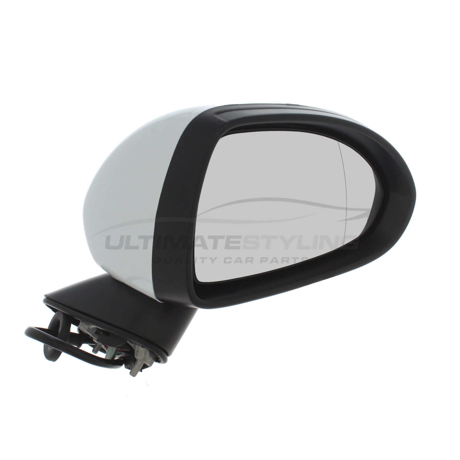 Ultimate Styling Replacement Electric None Power Folding Wing Door Mirror With Heated Glass With Paintable Black Mirror Cover Cap Side Of Product Drivers Side RH