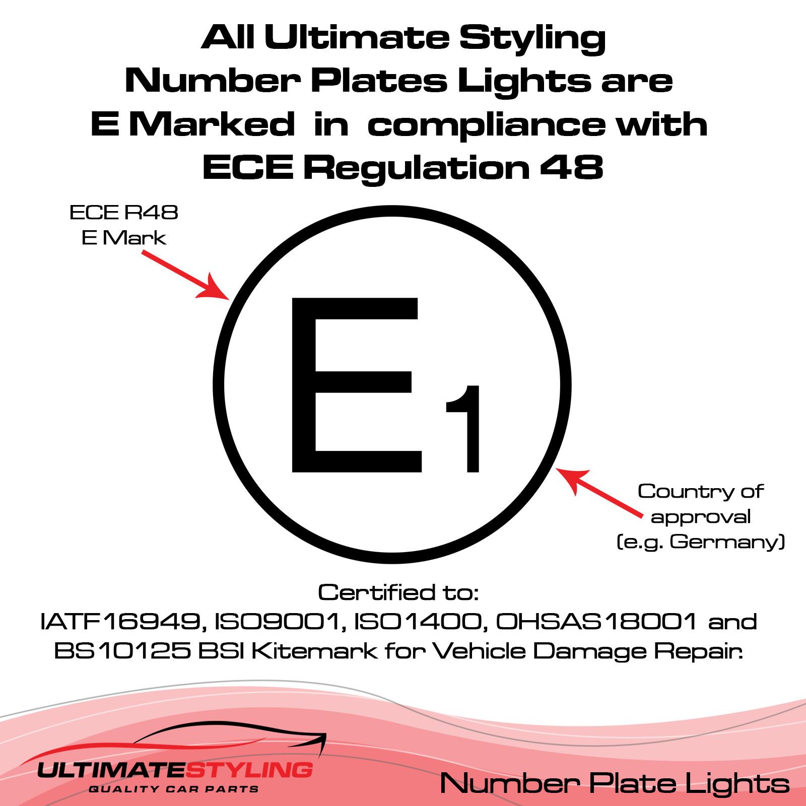 Audi A1 / A3 / A4 / A5 / A6 / A7 / Q3 / Q5 / Q7 / RS3 / RS4 / RS5 / RS6 / RS7 / RSQ3 / S1 / S3 / S4 / S5 / S6 / S7 / SQ5 / SQ7 / TT Rear Number Plate Light - Universal (LH or RH)