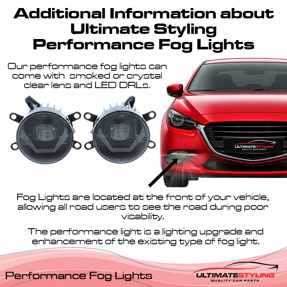 Smoked Front Fog Light Lamp Pair Left & Right
