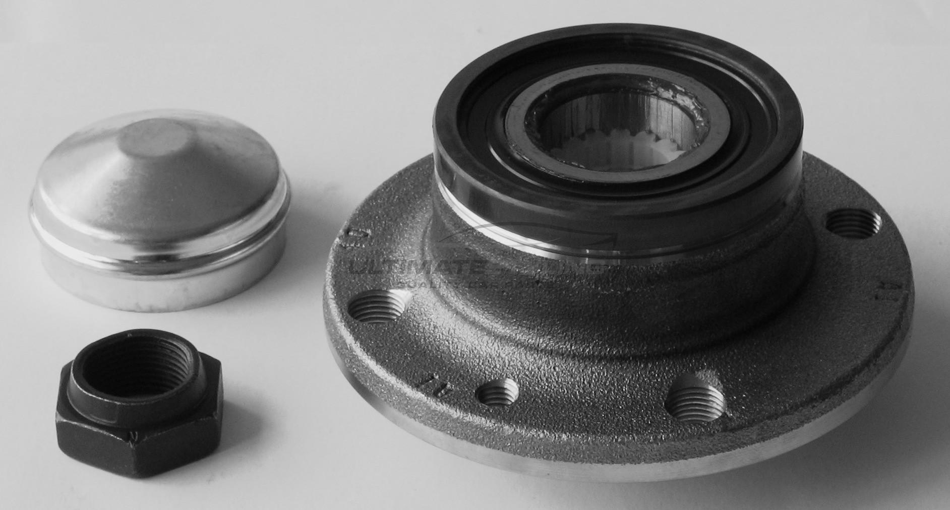 Hub Bearing Kit - Rear for Abarth 500 / 595 / 695, Alfa Romeo 145 / 146 / MiTo, Chrysler Delta / Ypsilon, Citroen Nemo, Fiat 500 / Brava / Bravo / Fiorino / Idea / Marea / Multipla / Panda / Punto / Qubo / Stilo, Ford Ka, Peugeot  and others